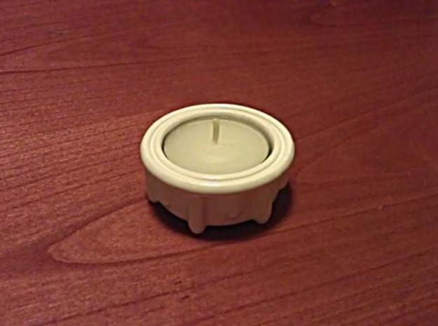 Tealight Holder 3d printed With a tea-light inserted