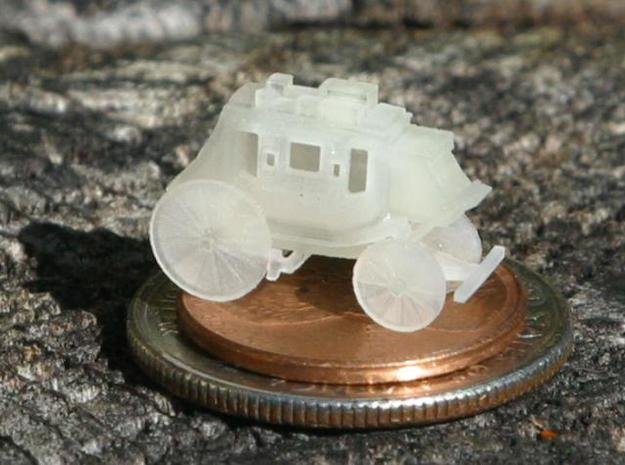 Z Scale Stagecoach 3d printed Photographed sitting on a penny.