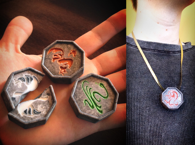Tiger Talisman 3d printed Talismans are about 2 inches wide and 1 inch thick, makes a nice necklace!