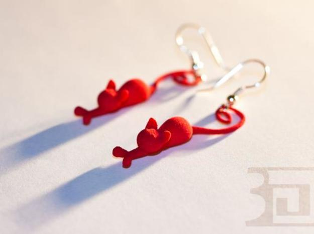 Kittens - earrings 3d printed Red Strong & Flexible