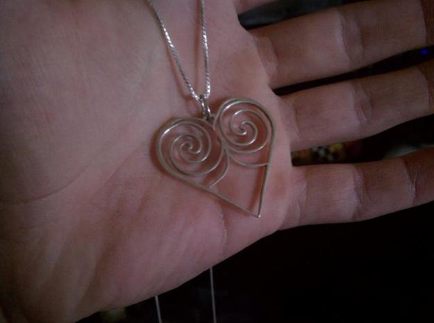 Heart With Swirls Necklace 3d printed