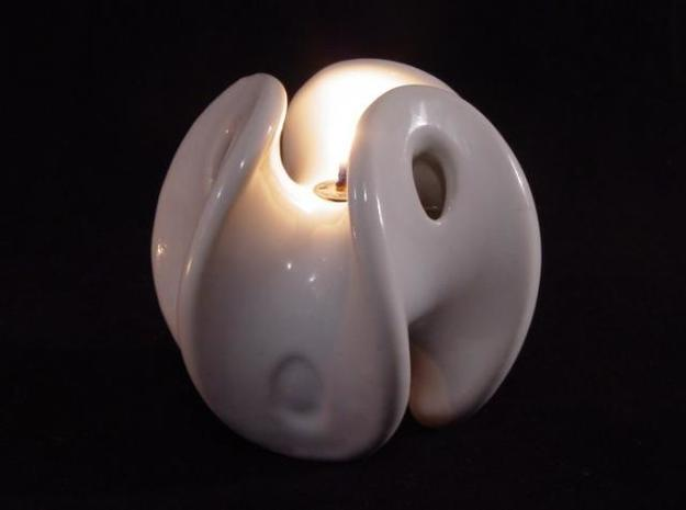 Enneper Oil Lamp 3d printed On fire