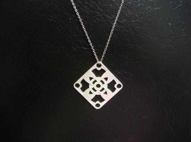 Square Pendant or Charm - Four Petal Flower 3d printed Silver - Chain not included