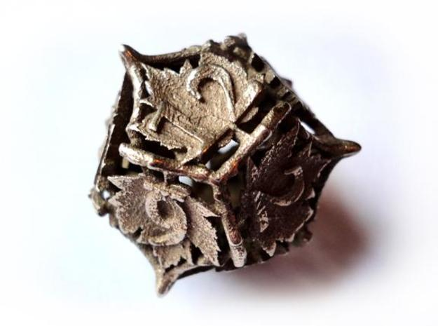Botanical Die12 (Maple) 3d printed In stainless steel