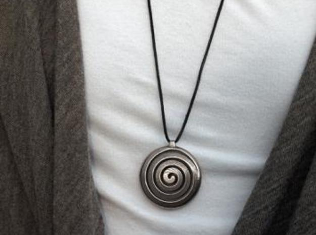 Spiral Pendant 3d printed Stainless Steel