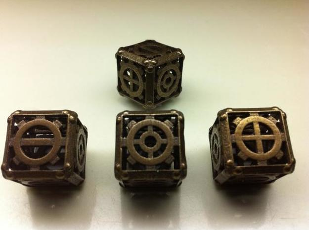 Steampunk Fudge d6 3d printed Antique Bronze Glossy
