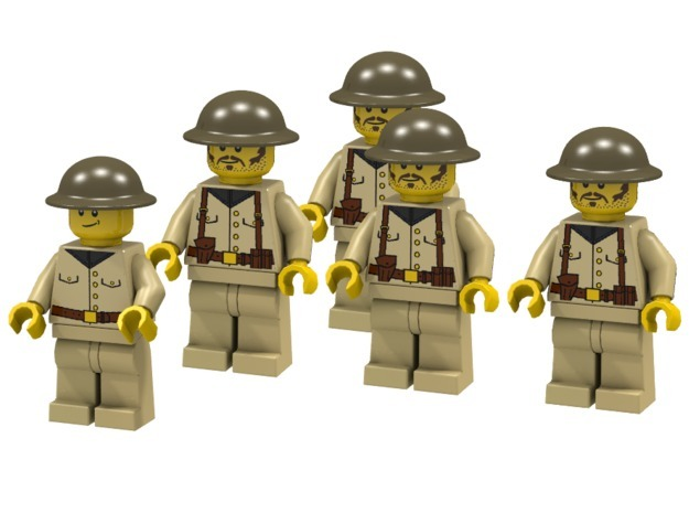 5 x Brodie 3d printed British Infantry (Render of an example Usage)