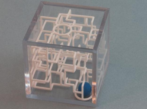 """Bare Bones"" - 3D Rolling Ball Maze in Clear Case( 3d printed Ball at Cave Mouth"