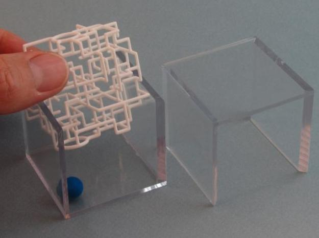 """Bare Bones"" - 3D Rolling Ball Maze in Clear Case( 3d printed Slide Maze into Case"