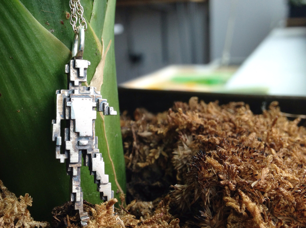 Digital David Pendant 3d printed First prototype in Polished Silver with oxidation
