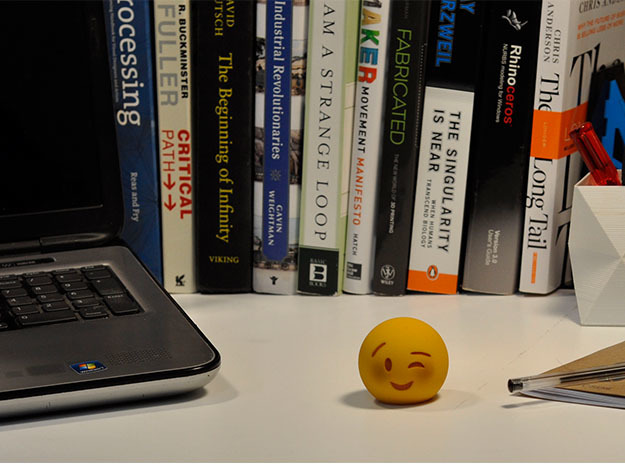3D Emoji Winking with Blush 3d printed