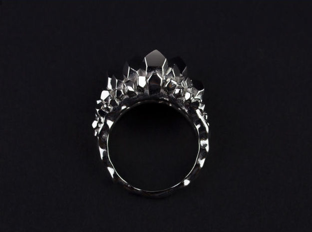 Crystal Ring size 7 3d printed Platinum