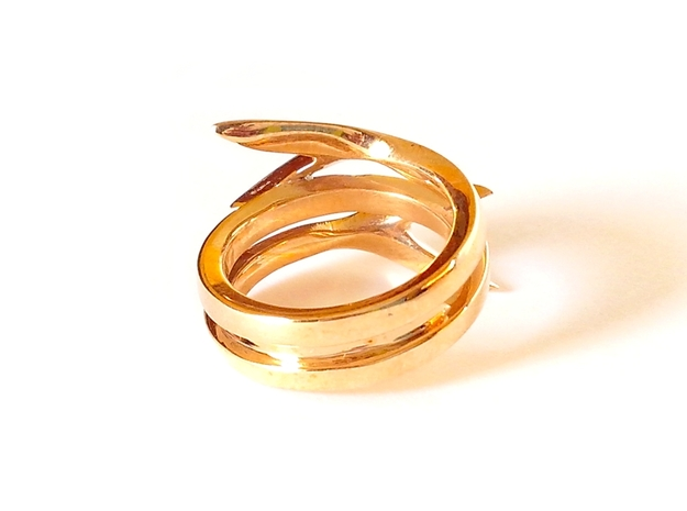 TAILS ring US size 8 (18.2 mm) 3d printed Polished Bronze