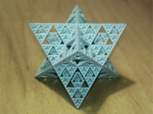 Sierpinski Octostar 3.75cm 3d printed Polished Metallic Plastic