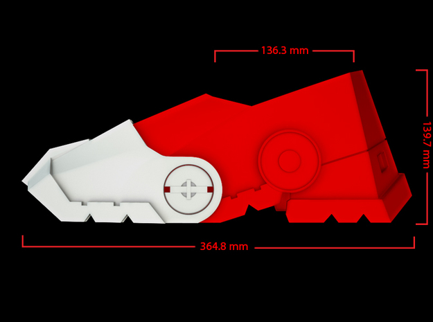 Iron Man Boot (Heel NO sole) Part 1 of 4 3d printed CG Render (Side Measurements, Heel with whole boot)
