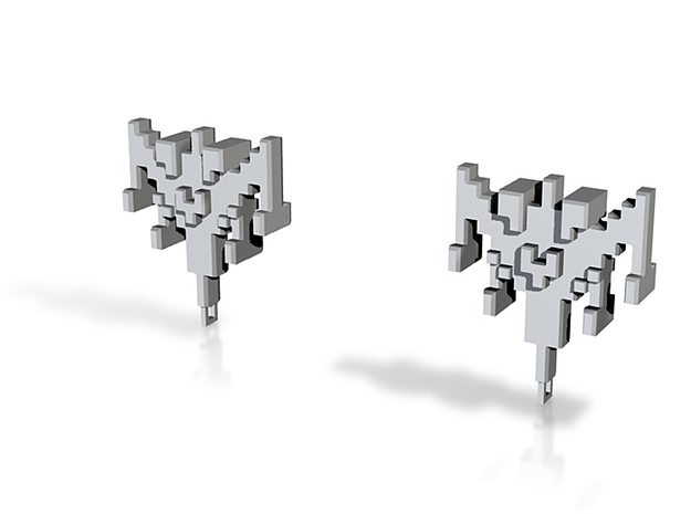 8-bit Ship Earrings 3d printed