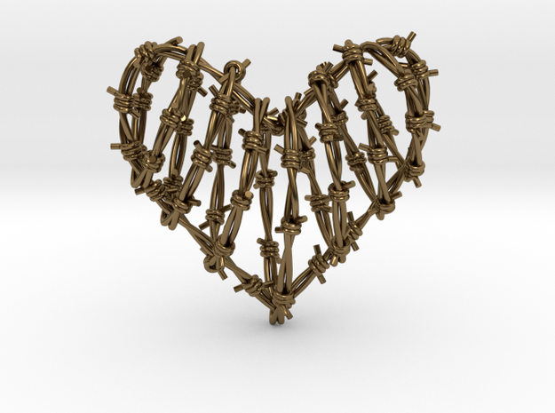 Barbed Wire Heart Cage Pendant 3d printed