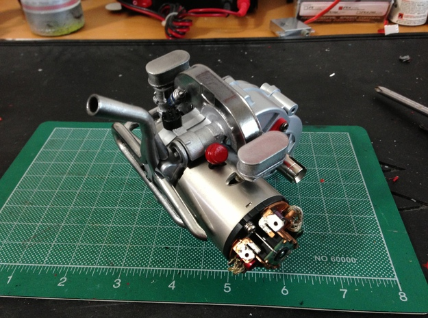 FA10001 Engine for Tamiya Wild One, FAV 3d printed Painted engine fitted to a Tamiya Wild One gear box with optional exhaust, sold separately.