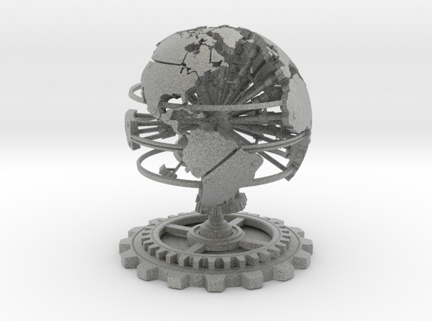 Steampunk World Small 6x6x7 3d printed White Strong & Flexible