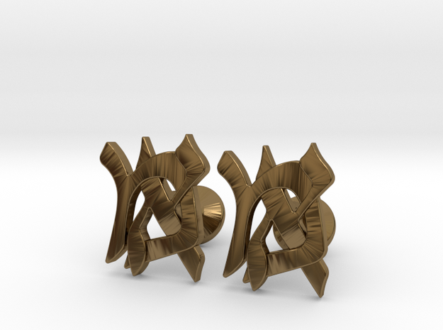 "Hebrew Monogram Cufflinks - ""Mem Aleph"" 3d printed"