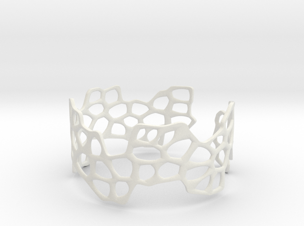 Cells Bracelet (open, 64mm) 3d printed in black strong and flexible