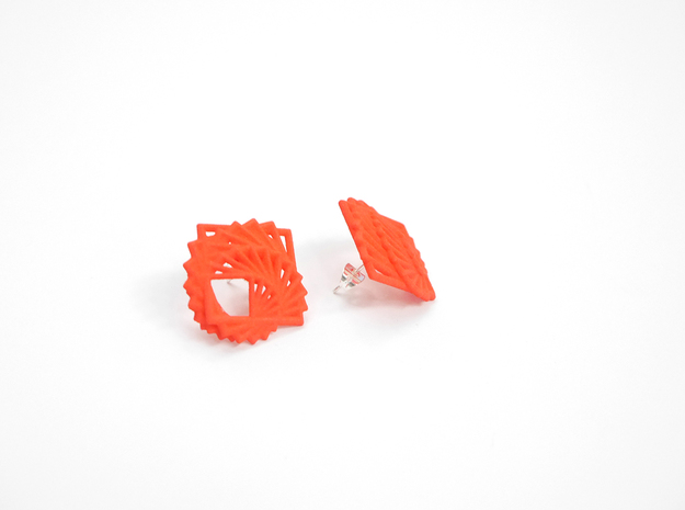 Arithmetic Earrings (Studs) 3d printed Custom Dyed Color (Coral)