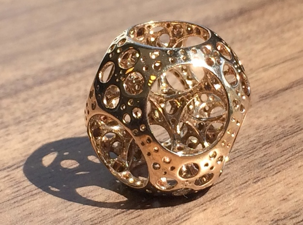Apollonian Octahedron Mini 3d printed Polished Bronze