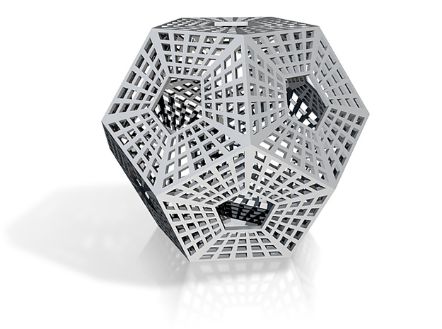 Dodecahedron with holes in it 3d printed
