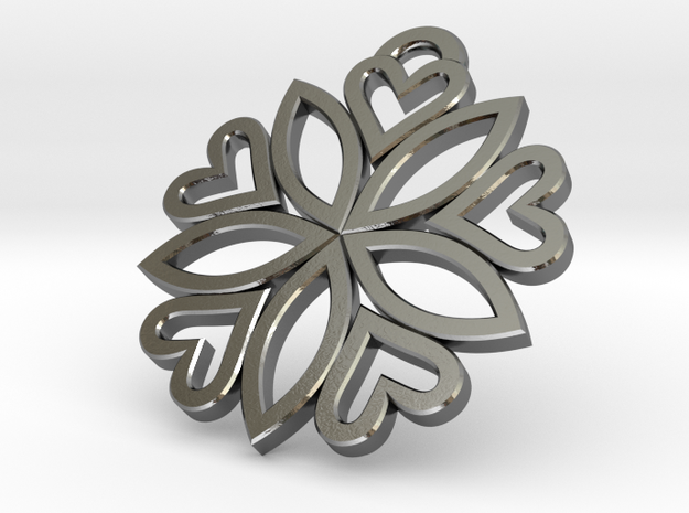 pendant 5 hearts (30mm) 3d printed silver