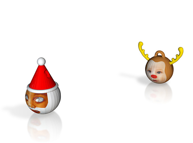 FatherChris&Reindeer baubles twinpack(personalise) 3d printed