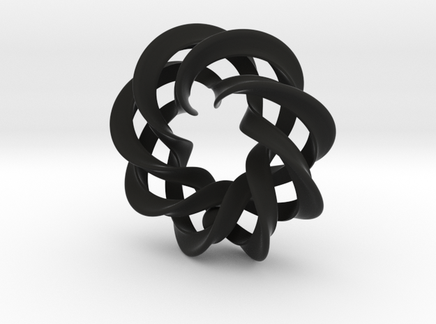 3 strand right hand mobius siral wth 5mm ball - PE 3d printed