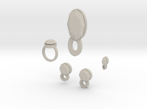 Lara Ruby Jewelry Set 3d printed