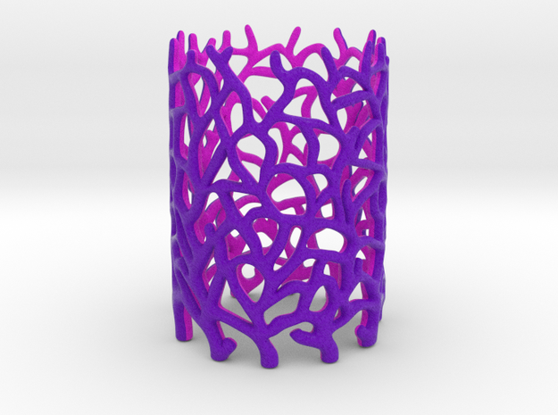 Coraline Tealight in Purple/Pink Sandstone 3d printed