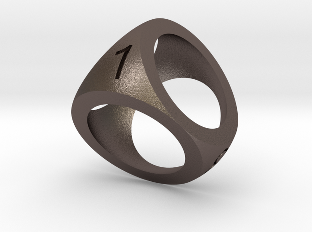 D4 Shell Dice 3d printed in Stainless Steel and in Polished Bronze