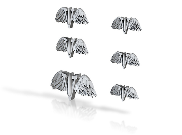 6 28mm Scale Blood Wing V Symbols 15, 20 & 30mm wi 3d printed