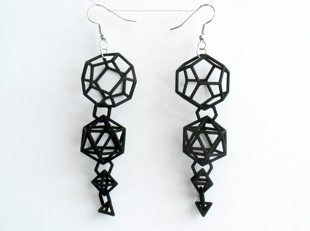 Platonic Progression Earrings - Clean 3d printed Earrings printed in black strong and flexible, with earwires added.
