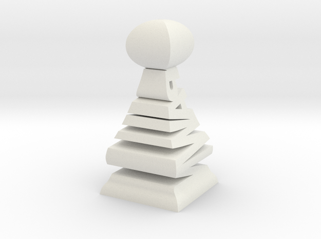 Typographical Pawn Chess Piece 3d printed