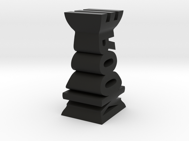 Typographical Rook Chess Piece 3d printed