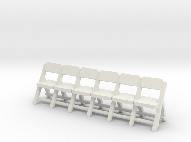 HO Folding Chairs Row (Not Full Scale) 3d printed