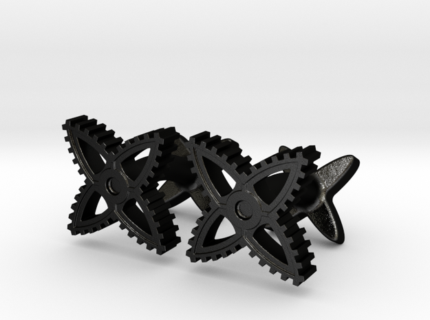 X-Gear Cufflinks 3d printed X-Gear Cufflinks in Black Stainless Steel - Sold as Pair