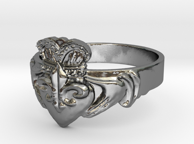 NOLA Claddagh, Ring Size 7.5 3d printed