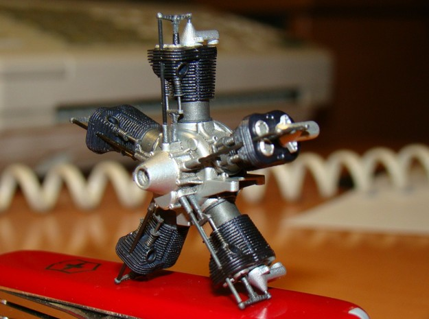 1/20 scale Viale aero engine 3d printed finished engine, various pushrods are wire or carbon fibre rods
