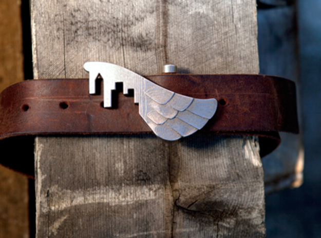 Wings Over the City Belt Buckle 3d printed Stainless Steel