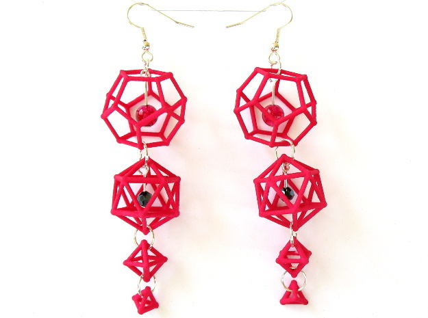 Platonic Progression Earrings - Clean 3d printed Printed in pink strong and flexible, with some extra components added by hand