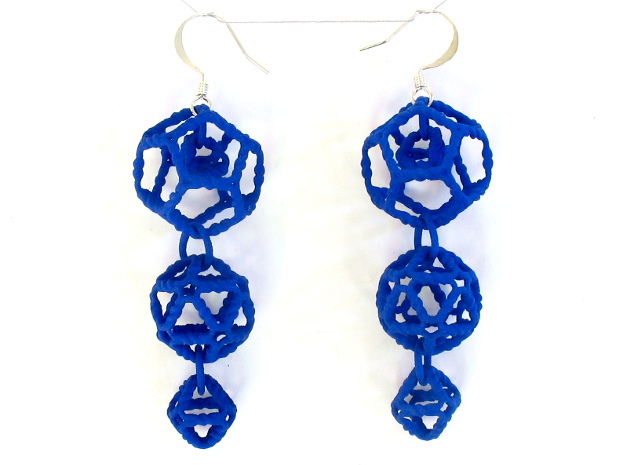 Platonic Progression Earrings - Organic 3d printed Printed in blue strong and flexible, with earwires added