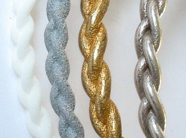 Braid bangle 3d printed Shown in white plastic, alumide, polished gold steel, polished silver
