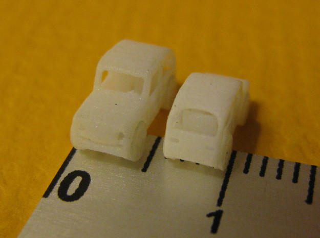 Pair of tiny micro cars with turning wheels 3d printed
