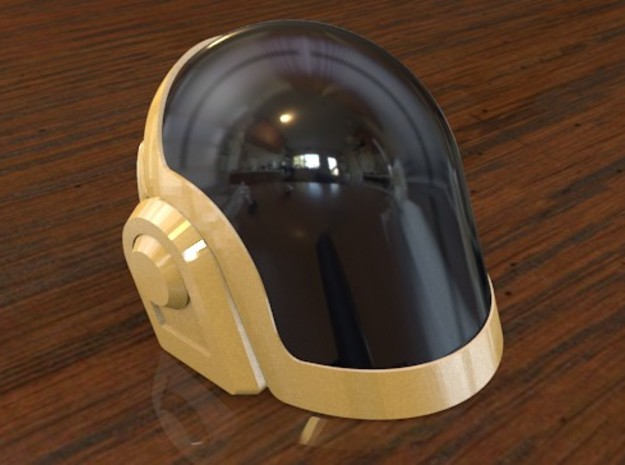 Daft Punk Mini Helmet Kit - Guy-Manuel 3d printed The material can be spray painted any tone or color.