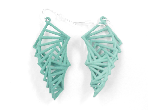 Arithmetic Earrings (Rhombus) 3d printed Teal Nylon (Custom Dyed Color)