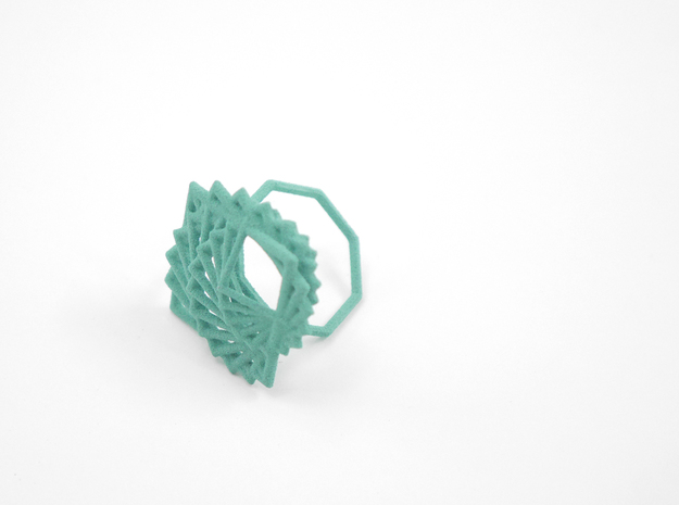 Arithmetic Ring (US Size 8) 3d printed Teal Nylon (Custom Dyed Color)